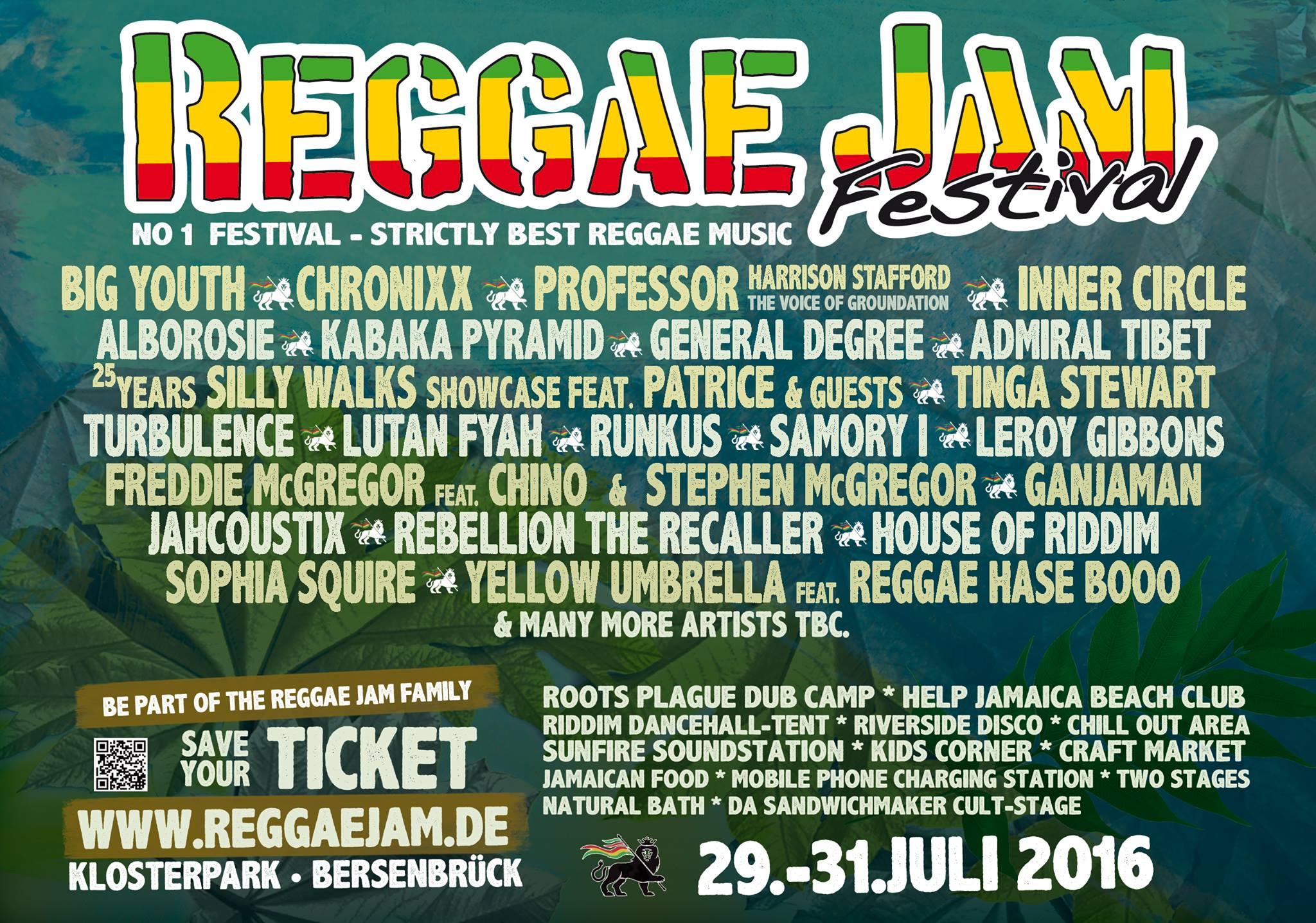 Reggae Jam 2016 Lineup