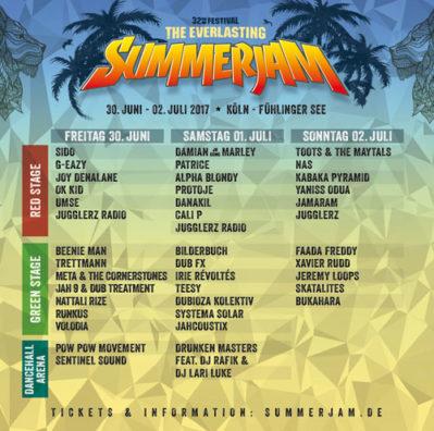Summerjam Festival 2017 Runnning Order