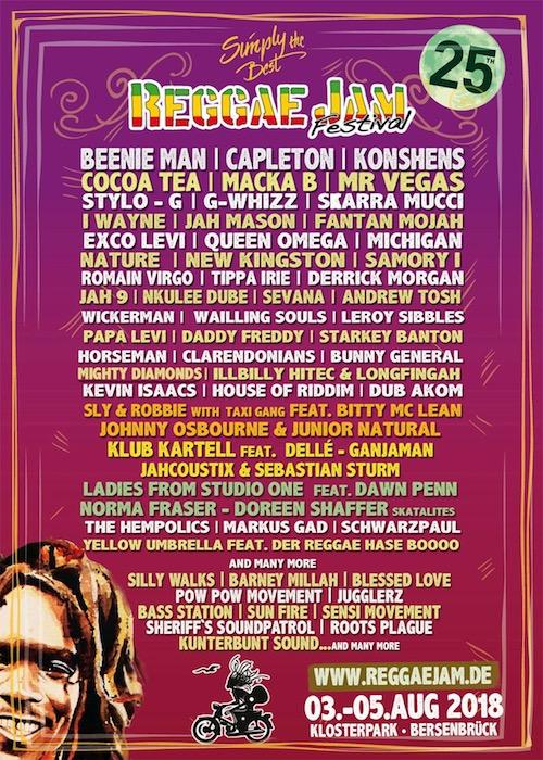 Reggae Jam Festival 2018 Flyer