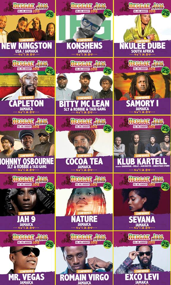 Reggae Jam Festival 2018 - Line-up More Fire