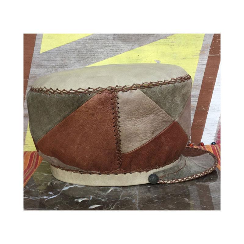 Plaza876 Rasta Leather Hat Jamaican Rasta Leather Crown  Rastafarian Hat  Rasta Leather Cap  Hats for Dreadlocks item 398
