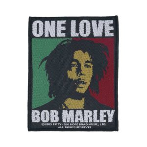 "Compre o patch ""One Love"" de Bob Marley barato"
