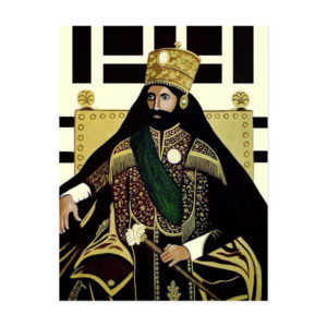 Haile Selassie I - pohľadnica Jah Rastafariho