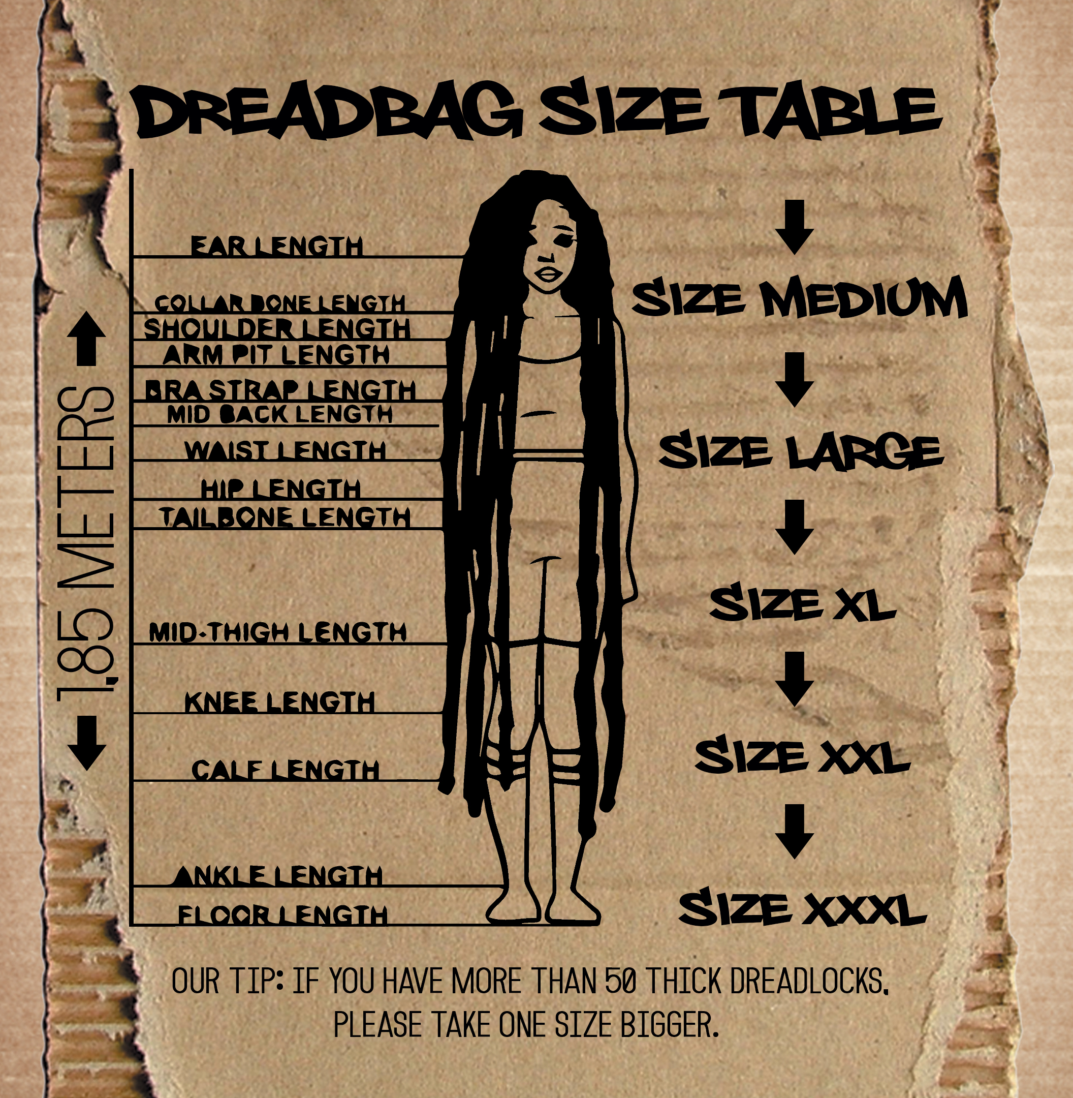 Which dreadbag size fits me? Dreadbag size table