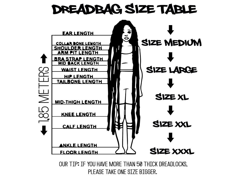 Dreadbag - Diagramă de mărimi - Ghid de mărimi