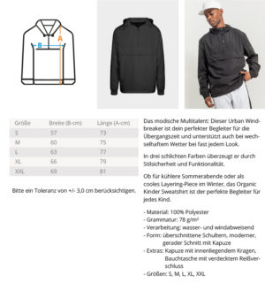Tabela veličina veličina jakna - vjetrovka - jakna